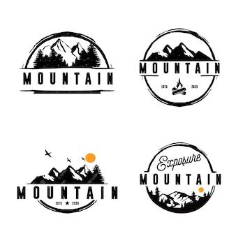 Bundle logo campo vintage, set di badge di montagna. disegni di etichette disegnate a mano. spedizione di viaggio, canoa, voglia di viaggiare ed escursioni. emblemi all'aperto. raccolta di loghi. stock isolato su bianco