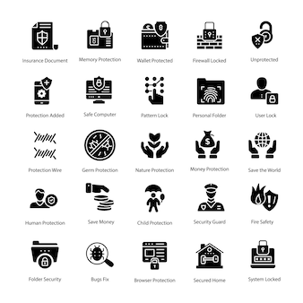 Bundle of protection glyph vector icons