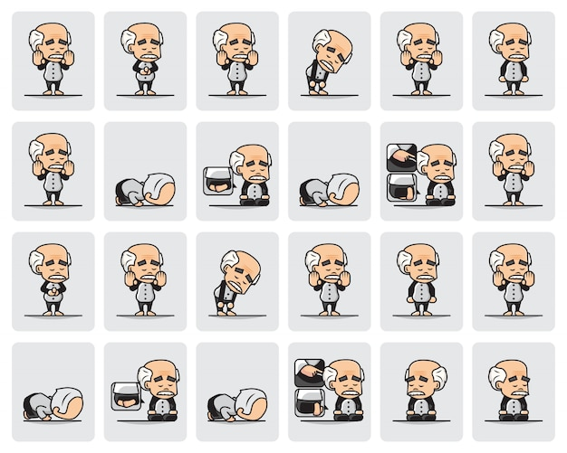 Bundle set illustration of muslim grandpa character is praying or salat with step by step.