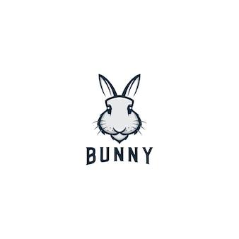 Bunny animal mascot logo design vettoriale