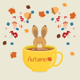 Bunny bath nella tazza di tè