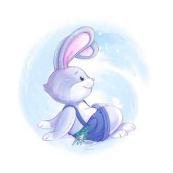 Bunny boy in pantaloncini blu si siede e guarda una farfalla.