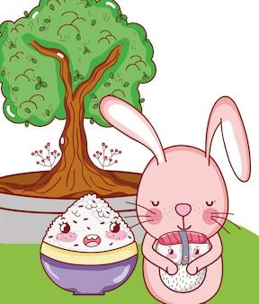 Bunny e cibo kawaii