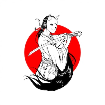 Bunny mask samurai girl simple line art