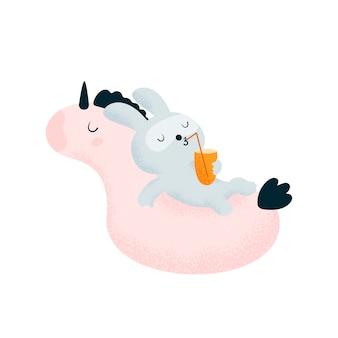 Bunny rabbit baby e unicorno rilassante sulla piscina della spiaggia
