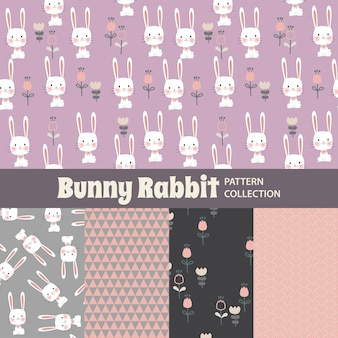 Bunny rabbit cute rainbow seamless pattern