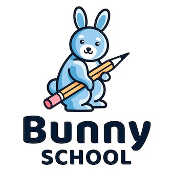 Bunny school kids logo template