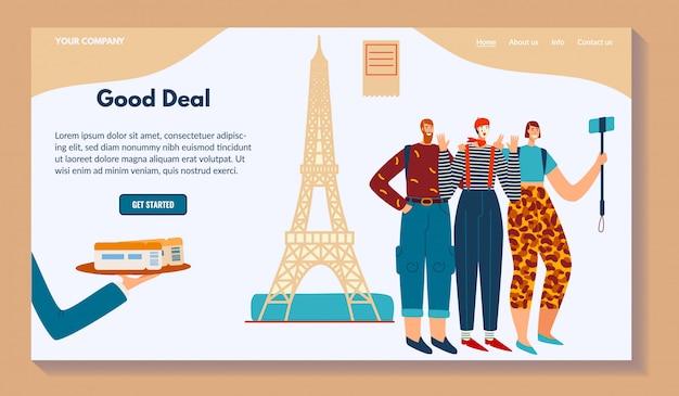 Buon affare, business web, personaggio uomo parigi, selfie mime, illustrazione. contatti, informazioni, chi siamo, casa, altro pulsante.