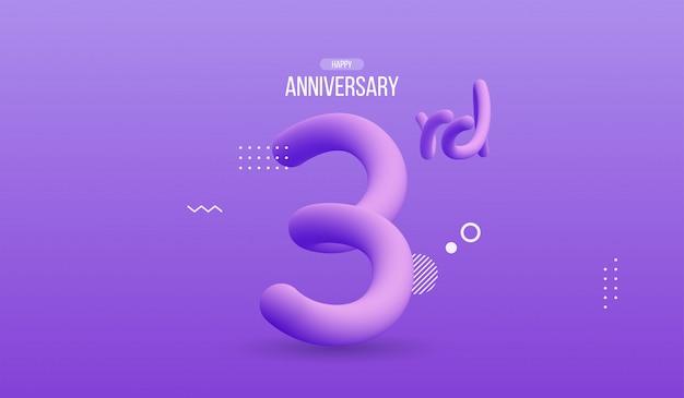 Buon anniversario con numero fluido che scorre astratto