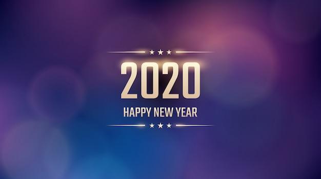 Buon anno dorato 2020 con il modello astratto del chiarore dell'obiettivo e del bokeh nel fondo blu d'annata di colore