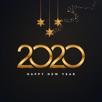 Buon anno dorato 2020 con l'illustrazione del fuoco d'artificio dell'oro isolata sul nero
