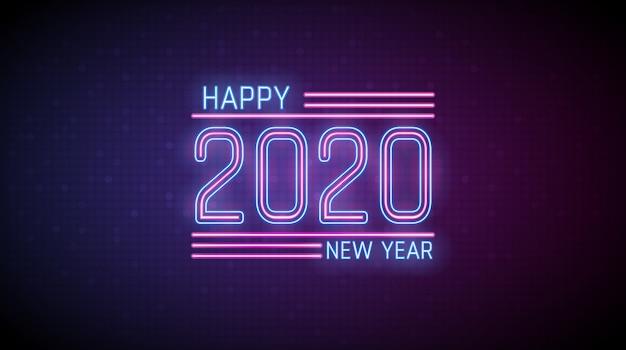 Buon anno nel testo della luce al neon su colore rosso e blu digitale