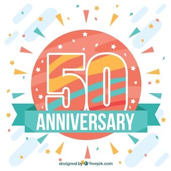 Buon compleanno 50 ° anniversario in stile piatto