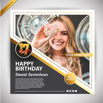 Buon compleanno banner modello di promozione