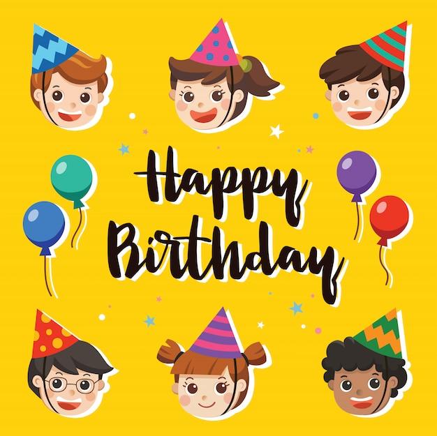 Buon compleanno. bellissimi bambini che salutano il personaggio divertente e il modello della carta dell'invito della festa di compleanno. carta di illustrazione