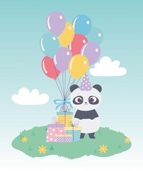 Buon compleanno, carino piccolo panda con scatole regalo e palloncini celebrazione fumetto decorazione