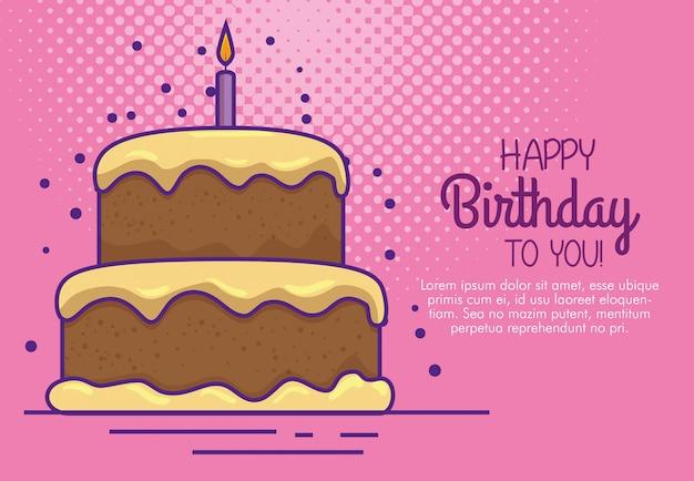 Buon compleanno con decorazione torta e candela