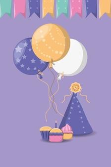 Buon compleanno con palloncini e cappello del partito su sfondo viola
