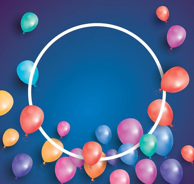 Buon compleanno con palloncini volanti e cornice bianca.