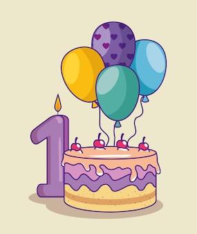 Buon compleanno con torta e canbe con il numero uno