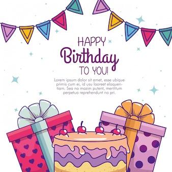 Buon compleanno con torta e decorazioni presenti