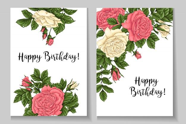 Buon compleanno. cornice di rose di corallo. disegno a mano