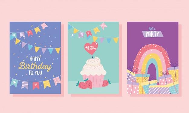 Buon compleanno, cupcake regali arcobaleno decorazione celebrazione auguri e modelli di invito a una festa