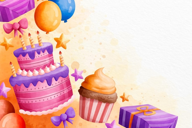 Buon compleanno dell'acquerello con i dolci copia spazio