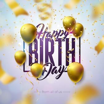 Buon compleanno design con palloncino, tipografia lettera e coriandoli che cadono su sfondo chiaro.