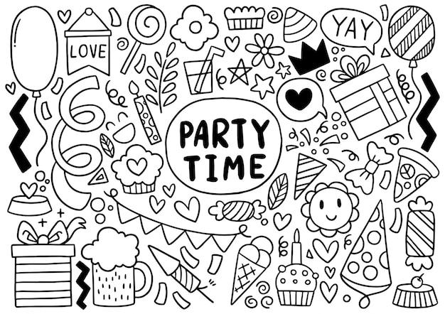 Buon compleanno di doodle festa disegnata a mano