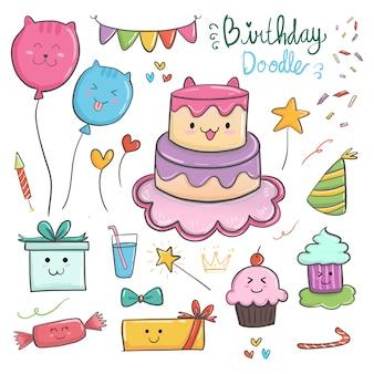 Buon compleanno elementi kawaii con simpatico tema di gatto e oggetti colorati.