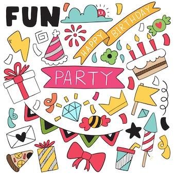 Buon compleanno festa doodle disegnato a mano.