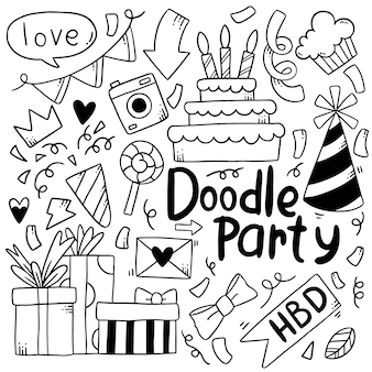 Buon compleanno festa doodle disegnato a mano