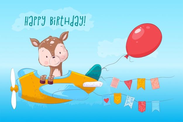 Buon compleanno illustrazione infantile di carino cervo sull'aereo in stile cartone animato. disegno a mano