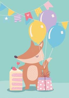Buon compleanno, piccola volpe carina con regalo di torta e palloncini celebrazione fumetto decorazione