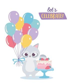 Buon compleanno, procione carino con torta dolce e palloncini celebrazione fumetto decorazione