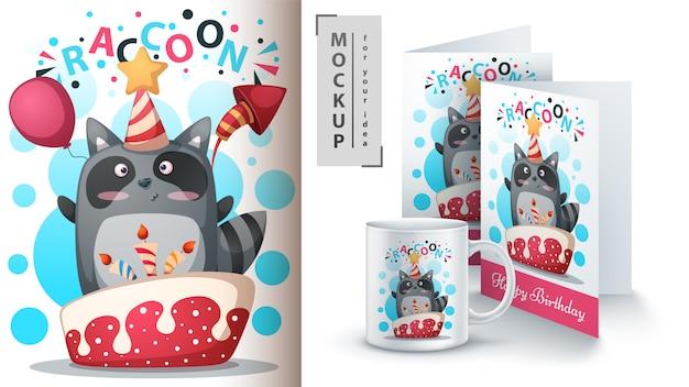 Buon compleanno, procione, design della tazza