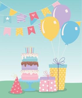 Buon compleanno, regali di torta dolce festa cappello e palloncini celebrazione fumetto decorazione