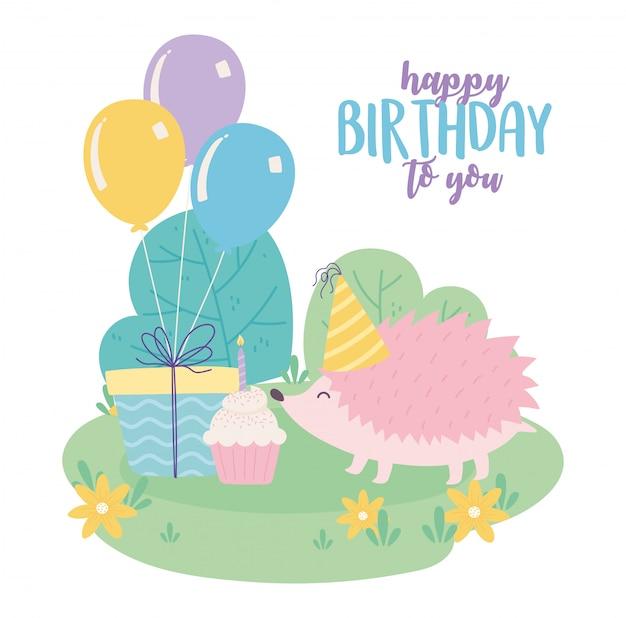 Buon compleanno, riccio carino con cupcake regalo e palloncini celebrazione fumetto decorazione