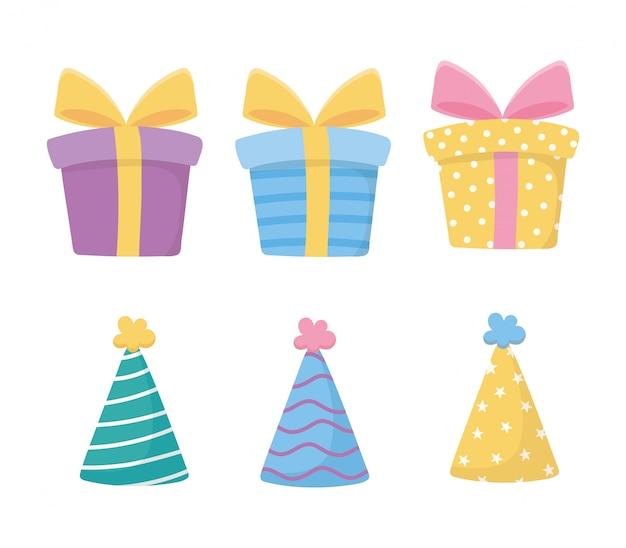 Buon compleanno, scatole regalo festa cappelli decorazione celebrazione icone