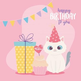 Buon compleanno, simpatico gatto regalo e cupcake celebrazione decorazione cartoon