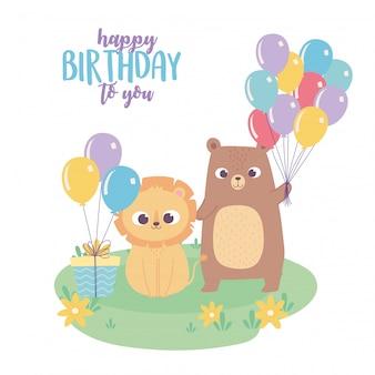 Buon compleanno, simpatico orsetto leone con regalo e palloncini celebrazione fumetto decorazione