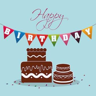 Buon compleanno stendardo torta al cioccolato festivo