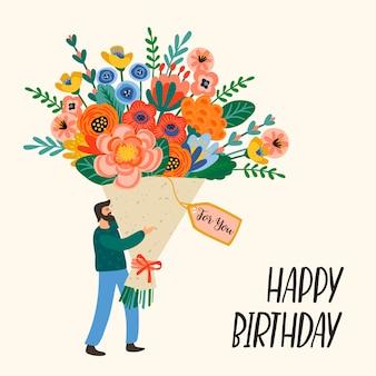 Buon compleanno. uomo carino con bouquet di fiori.