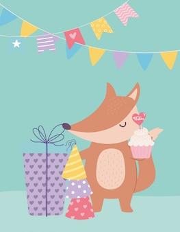Buon compleanno, volpe carina con regalo cupcake e cappelli da festa celebrazione fumetto decorazione