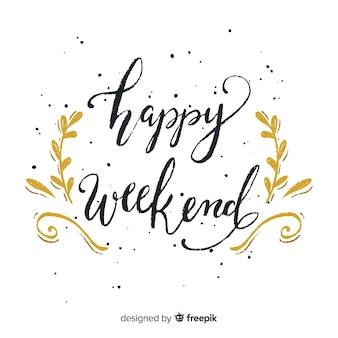 Buon fine settimana lettering sfondo