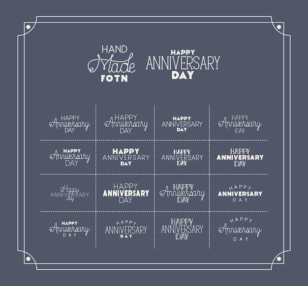 Buon giorno dell'anniversario con set di caratteri fatti a mano