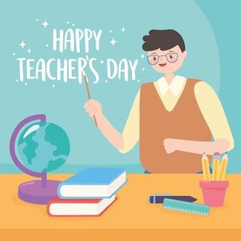 Buon giorno dell'insegnante, matite del libro della mappa del globo della scuola dell'insegnante maschio