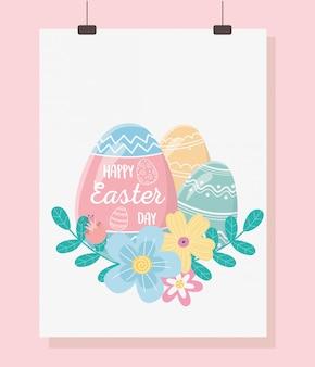 Buon giorno di pasqua, fogliame dipinto fiori delle uova della carta