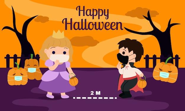 Buon halloween con suggerimenti per l'allontanamento sociale per i bambini. il ragazzo e la ragazza si tengono a distanza di sicurezza e indossano una maschera protettiva. fumetto della scuola materna con sfondo spettrale.